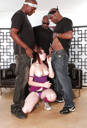 Hot ass slut Ariel Stonem gets banged by three black guys with giant cocks