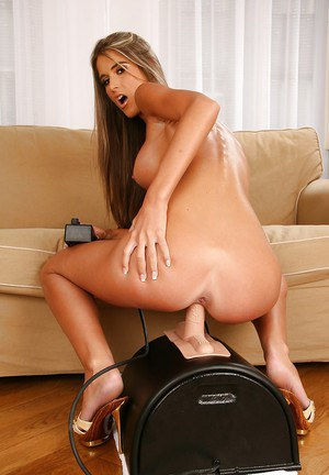 Slim babe with round jugs Nessa Devil stripping and riding a fucking machine