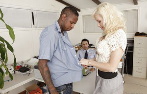 Adorable blonde babe Margo Russo gets nailed by a black guy in the office
