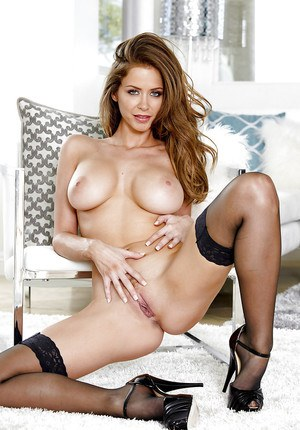 Steaming hot babe in stockings Emily Addison slipping off her lingerie