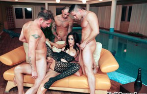 Horny MILF Eloa Lombard gets blowbanged and slammed by four guys