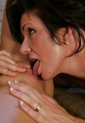 Loveable young lesbian gets her pussy licked by her mature friend