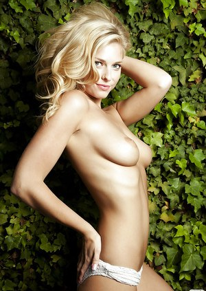 Pretty blonde babe Victoria A Winters exposing her graceful curves outdoor