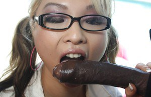 Slutty asian coed Mia Rider sucks and fucks a big black cock