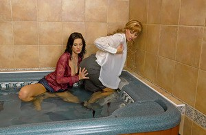 Fully clothed european chicks Anita Queen & Leny Wild taking bath together