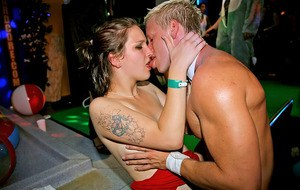 Seductive amateurs getting banged hardcore by malestrippers at the party