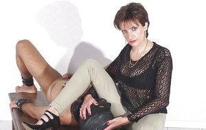 Naughty short haired femdom in pants face sitting her human pet