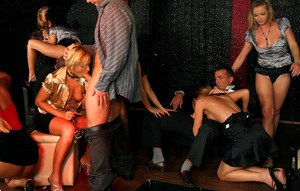 Hot party sluts showing off their cock sucking skills and getting fucked