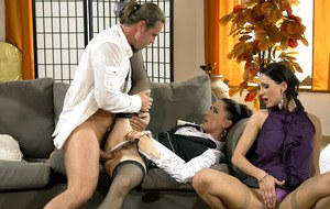 Hot MILF Virus Vellons is into fully clothed threesome with her friends