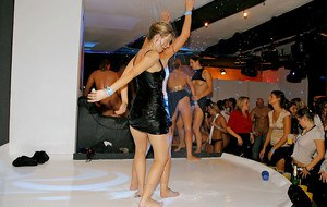 Dionne Darling getting wet and going crazy at the drunk party