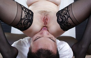 Naughty MILF in stockings Aiden Starr gets her love holes licked
