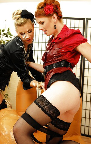 Seductive fully clothed fashionistas are into messy gloryhole action