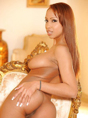 Pretty ebony babe in stockings Katia Dé Lys revealing her graceful body