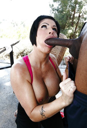 Shay Fox takes a cumshot on her rack after hardcore interracial twatting