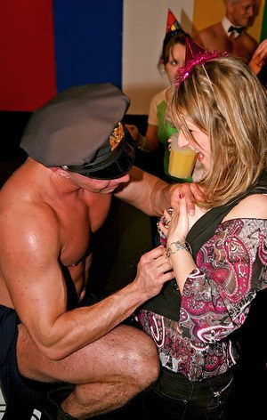 Promiscuous amateur gals having fun with male strippers at the club party