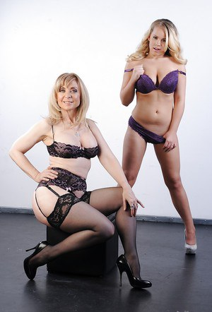 Sexy gals with big tits Nina Hartley & Britney Young stripping together