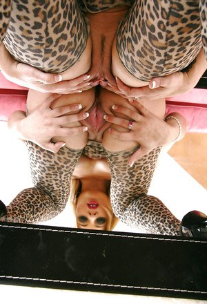 Hot ass chick in pantyhose suit Kirra Lynne exposing her nice tits and pussy