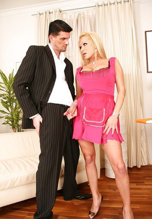 Full-bosomed maid with ample ass Sharon Pink sucks and fucks a stiff prick