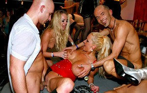 Jizz starving amateur sluts get satisfied by well-hung male strippers