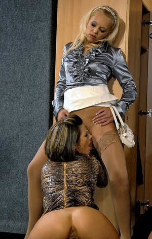 Horny european gal Eliss Fire is into CFNM threesome with her friends