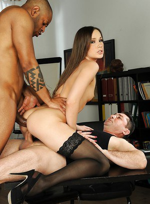 Office brunette dildo threesome
