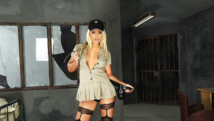 Stupendous blonde babe in stockings stripping off her police uniform