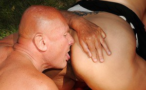 Lascivious mature plumper has a threesome groupsex outdoor