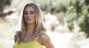 Ravishing blonde babe Nicole Aniston stripping off her clothes outdoor
