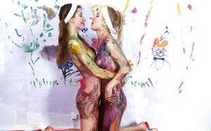 Kinky teenage gals have some messy fun and take a shower
