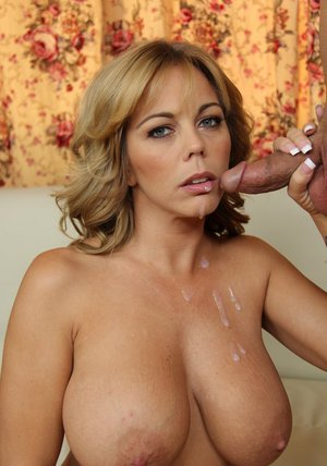 Amber Lynn Bach receives a cumshot on her gorgeous tits after hardcore porking
