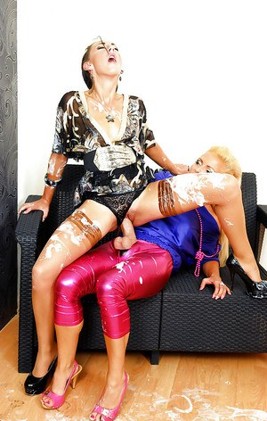 European shrew Jenna Lovely has some messy strapon fun with her friend
