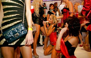 Hot chicks on high heels going crazy at the carnival lesbian party
