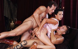 Steaming hot brunettes have a fervent groupsex with well-hung guys