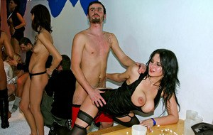 Lecherous gals have a wild groupsex with male strippers at the party