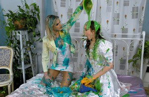 European fetish babe Kitty Saliery has some messy fun with her female friend