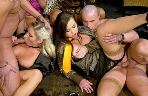 Kinky MILFs have a group pissing fun with well-hung guys