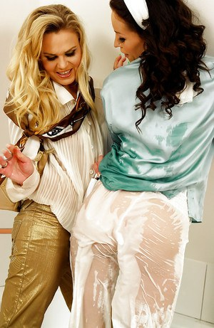 Fully clothed vixens Barra Brass & Adel Sunshine have some fun in the shower
