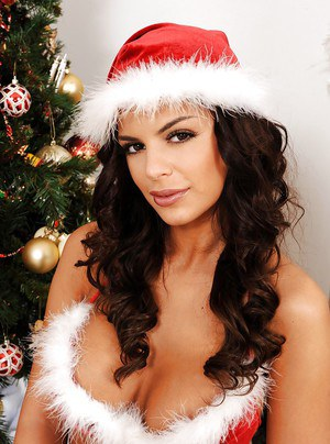 Hot babe in christmas outfit Black Angelica revealing her big tits