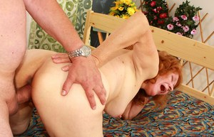 Lecherous granny gives a blowjob and gets pounded hardcore