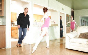 Naughty ballet-girl Melody Jordan gives a blowjob and gets drilled hardcore