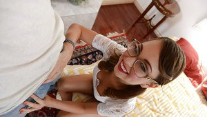 Naughty teen in glasses Riley Reid playing with a big fat cock