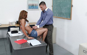 Saucy coed Sohley Cancino gets her shaved pussy drilled by her teacher