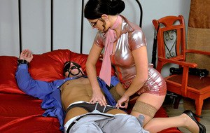 Horny femdom in glasses tortures her male pet's cock and gets fucked