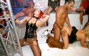 Petite european party sluts going down with horny male strippers