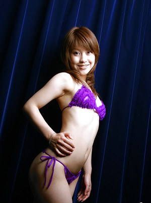 Stunning asian babe with tiny tits Ayumi Motomura posing barely clothed