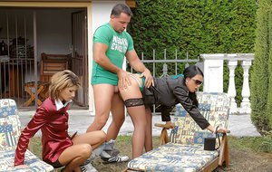 Horny piss sluts have a fully clothed groupsex with a guy outdoor