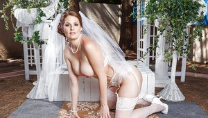 Lecherous bride Allison Moore stripping and spreading her legs