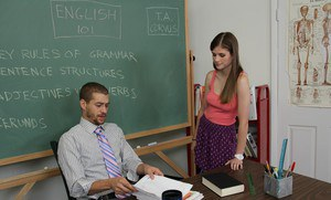 Naughty coed with petite jugs Lara Brookes gets banged and facialized