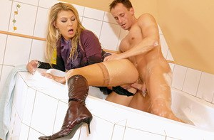 Tempting blonde with petite ass Kristy Lust is into wet CFNM action