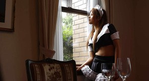 Adorable asian maid Yuka Hata revealing her lacy lingerie